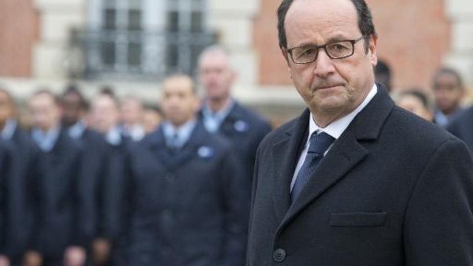 Le président François Hollande en déplacement à Montry, le 16 février 2015