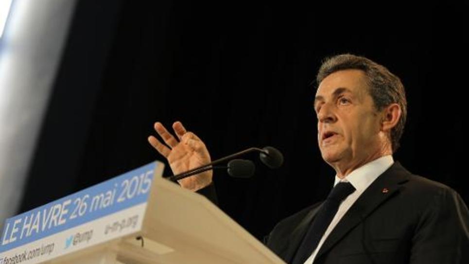 Le président UMP Nicolas Sarkozy, le 26 mai 2015 au Havre