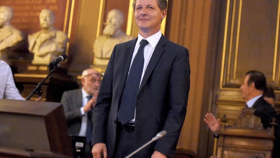 Nicolas Florian après son élection à la mairie de Bordeaux, le 7 mars 2019