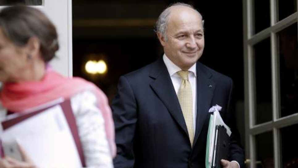 Le ministre des Affaires étrangères Laurent Fabius le 10 juillet 2014 à Matignon à Paris