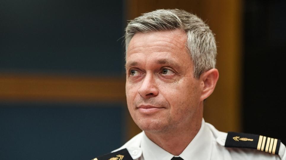 Le général Lionel Lavergne, chef du Groupe de sécurité de la présidence de la République, lors de son audition devant la commission des lois du Sénat, le 30 juillet 2018 à Paris