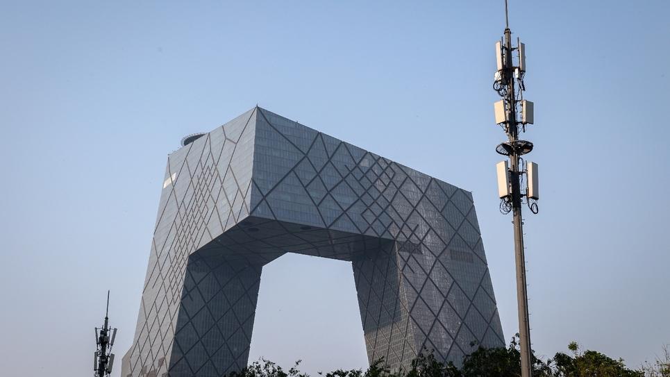 Une antenne de téléphonie mobile 5G dans une rue de Pékin, le 28 avril 2020
