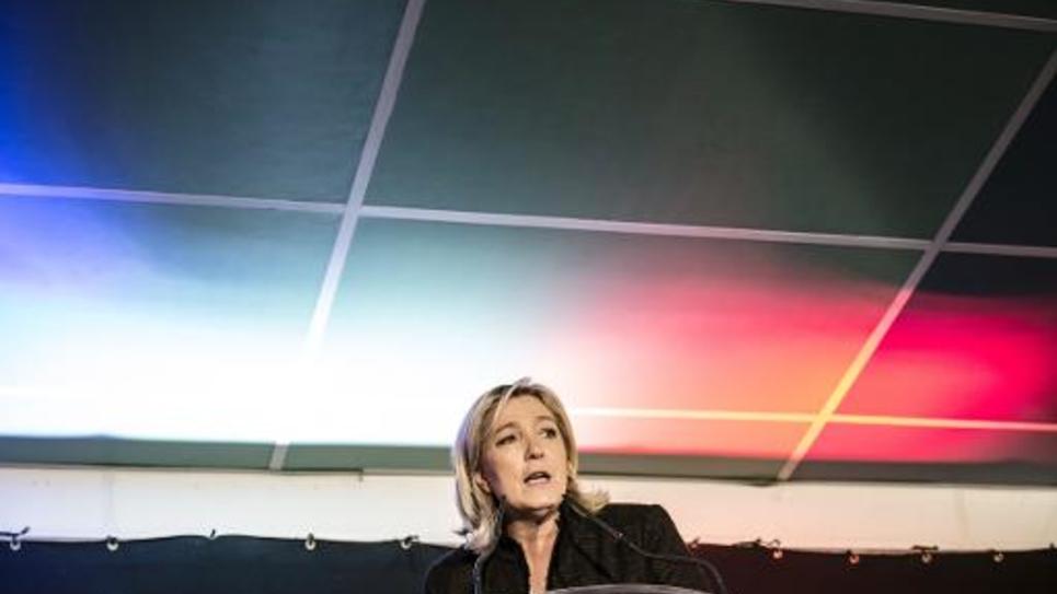 La présidente du FN Marine Le Pen en meeting le 7 février 2015 à la Roche-sur-Foron