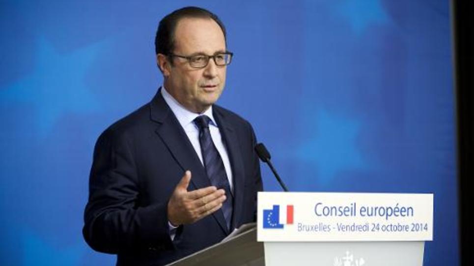 Le président de la République française François Hollande lors d'une conférence de presse durant le sommet de l'UE à Bruxelles le 24 octobre 2014
