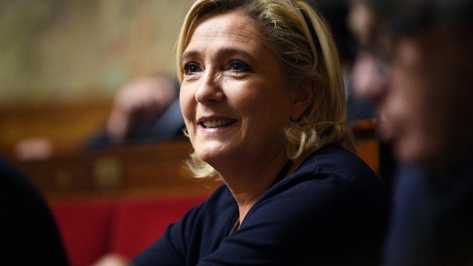 La présidente du Rassemblement national, Marine Le Pen, à l'Assemblée nationale à Paris le 14 novembre 2018
