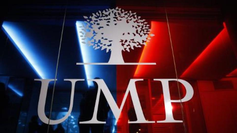 Le logo de l'UMP au siège du parti à Paris, le 29 novembre 2014