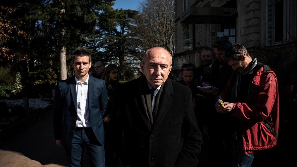 Le maire de Lyon Gérard Collomb, après avoir voté au premier tour des élections municipales, le 15 mars 2020