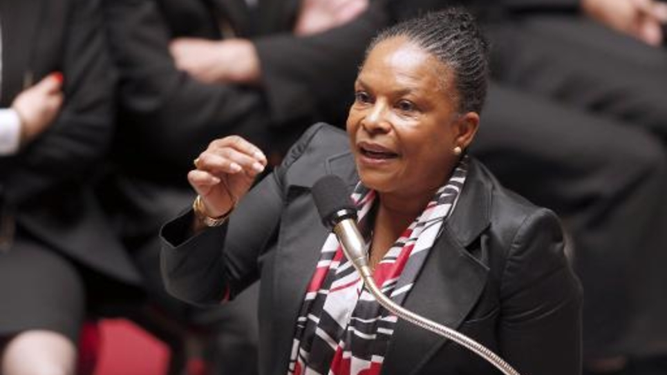 La ministre de la Justice Christiane Taubira le 3 juin 2014 à l'Assemblée nationale à Paris