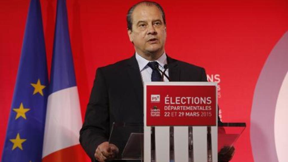 Le Premier secrétaire du PS Jean-Christophe Cambadelis lors de son intervention au siège du PS le 22 mars 2015 à Paris