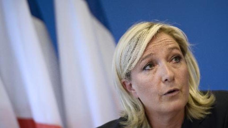 Marine Le Pen lors d'une conférence de presse au siège du FN le 25 juin 2014 à Nanterre