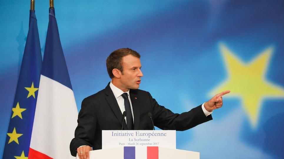 Le président français Emmanuel Macron prononce son discours sur l'Union européenne, le 26 septembre 2017 à la Sorbonne, à Paris