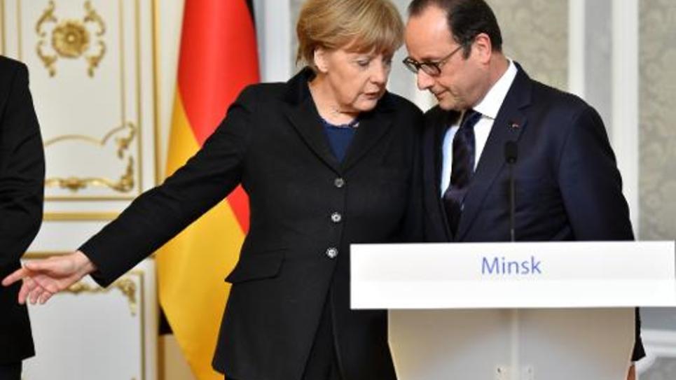 Angela Merkel et François Hollande lors d'une conférence de presse le 12 février 2015 à  Minsk