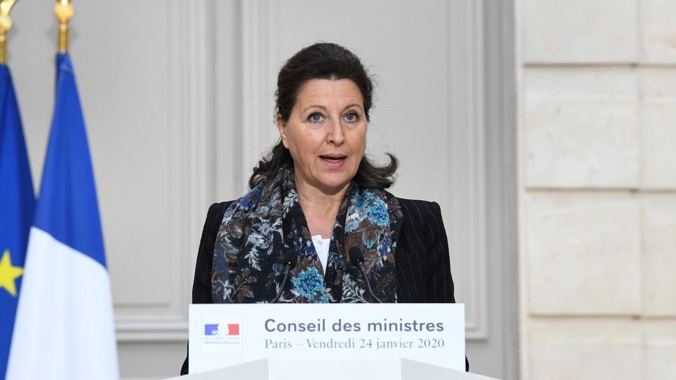 La ministre de la Santé Agnès Buzyn s'exprime sur le perron de l'Elysée sur le texte de la réforme de la retraite, le 24 janvier 2020