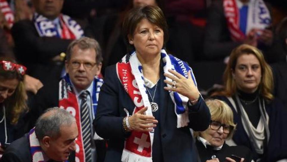 La maire de Lille Martine Aubry assiste au match de coupe Davis Monfils-Federer, au Stade Pierre Mauroy à Villeneuve-d'Ascq, le 21 novembre 2014