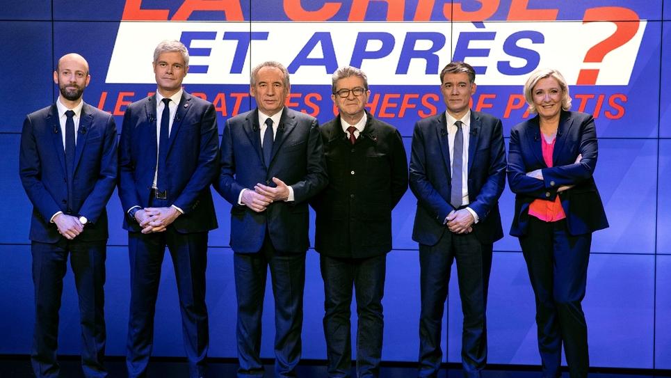 Stanislas Guerini, Laurent Wauquiez, François Bayrou, Jean-Luc Mélenchon, Olivier Faure et Marine Le Pen avant le débat sur BFM TV, le 20 mars 2019
