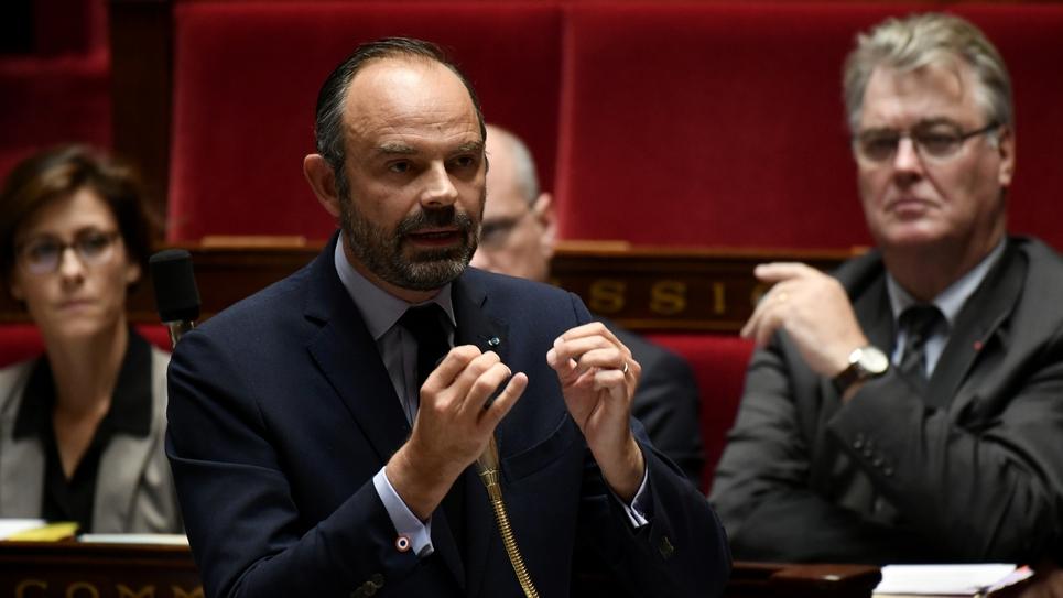 Edouard Philippe lors des questions au gouvernement à l'Assemblée nationale à Paris, le 8 octobre 2019