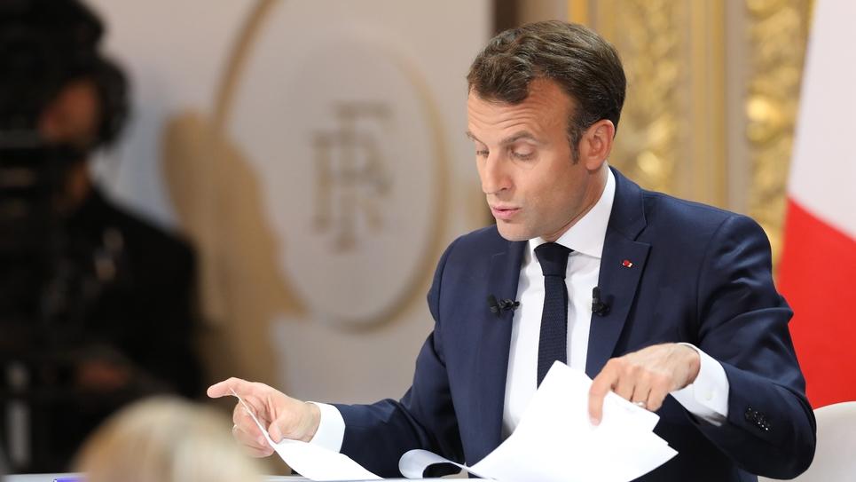 Le président Emmanuel Macron livre devant la presse ses réponses au grand débat, le 25 avril 2019 à Paris