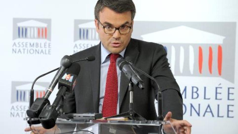 Thomas Thevenoud qui vient d'être désigné nouveau porte-parole des députés socialistes, s'exprime lors d'une conférence de presse le 24 avril 2014