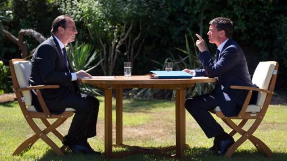 François Hollande et Manuel Valls le 15 août 2014 au Fort de Brégançon