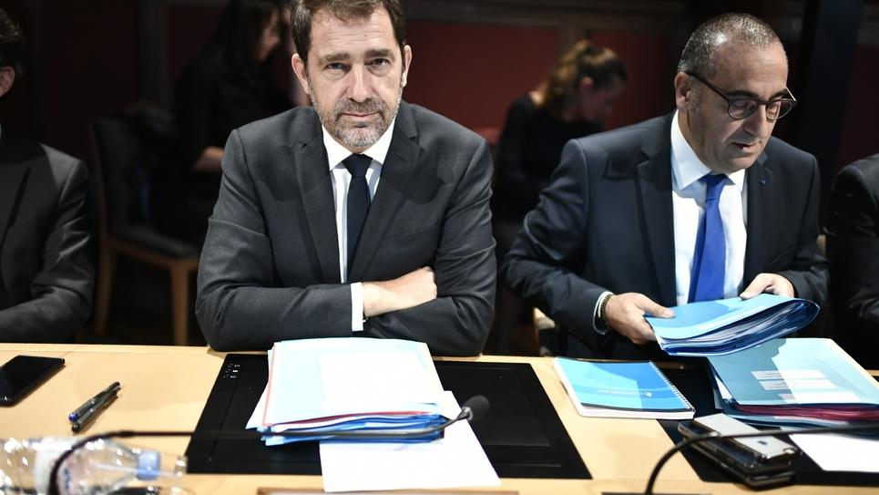 Christophe Castaner et Laurent Nunez avant le début de leur audition devant la commission des Lois du Sénat le 10 octobre 2019