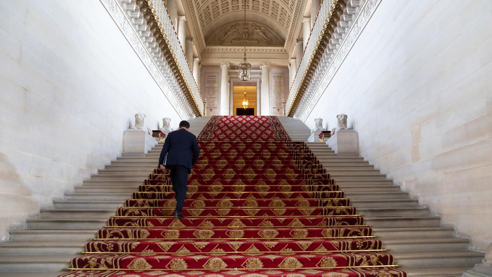 L'escalier d'honneur du Sénat, en mars 2020
