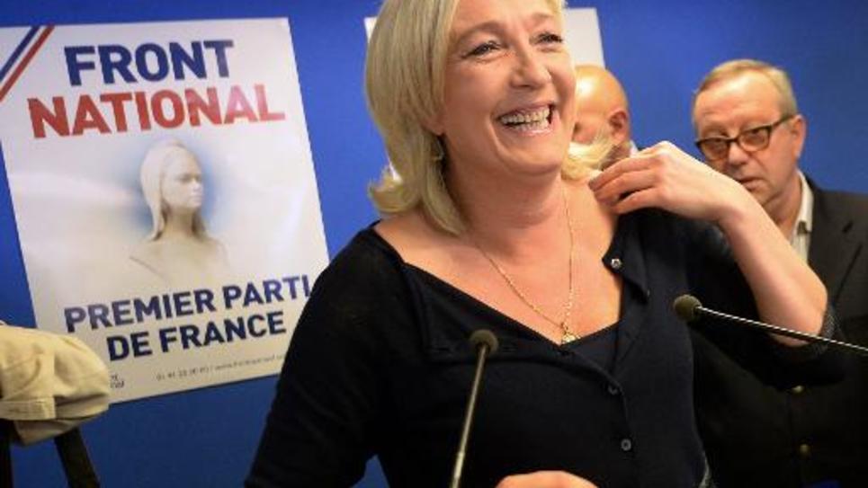 La présidente du Front national Marine Le Pen au siège du parti à Nanterre, le 25 mai 2014
