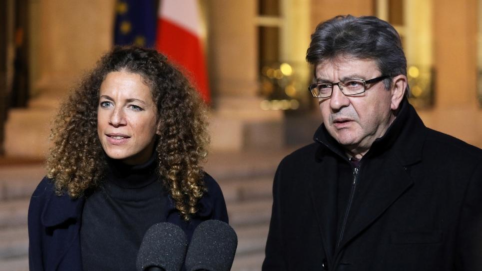 Charlotte Girard et Jean-Luc Mélenchon, de La France insoumise (LFI), après une rencontre avec Emmanuel Macron à L'Elysée, le 21 novembre 2017