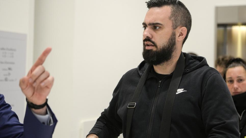 Éric Drouet arrivant au tribunal pour son procès, le 5 juin 2019 à Paris