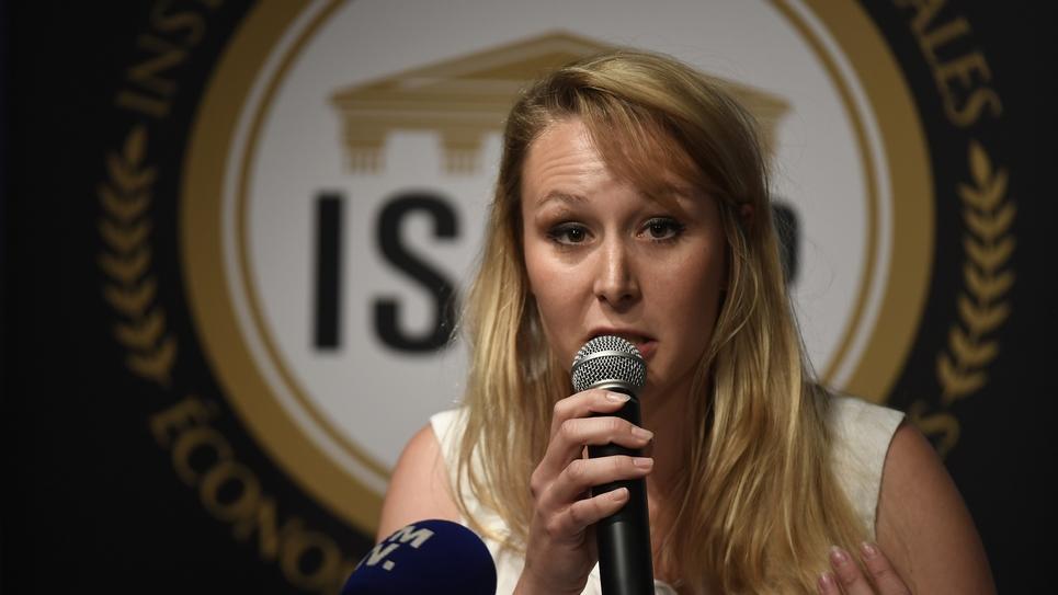 Marion Maréchal lors d'une conférence à l'Institut de Sciences Sociales Economiques et Politiques (ISSEP) le 14 juin 2018 à Lyon