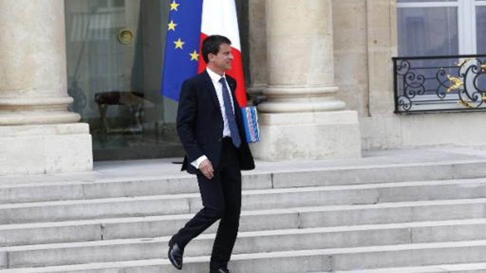 Le Premier ministre Manuel Valls quitte l'Elysée, le 27 mai 2015