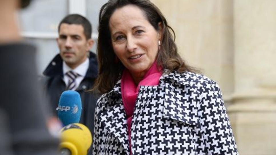 La ministre de l'Ecologie, Ségolène Royal, à la sortie du Conseil des ministres le 8 octobre 2014 à l'Elysée à Paris