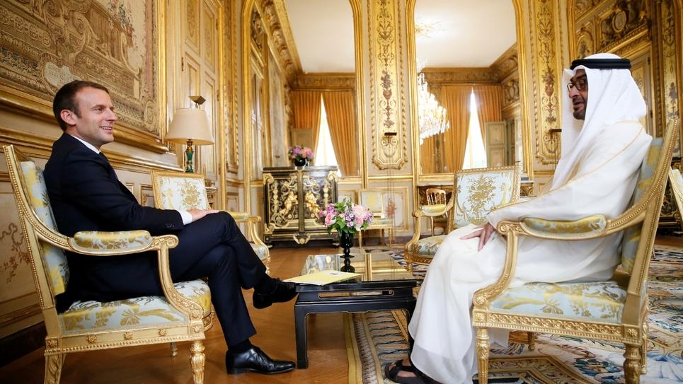 Emmanuel Macron et Mohammed ben Zayed Al-Nahyane à l'Elysée le 21 juin 2017