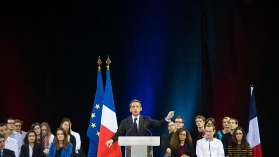 Nicolas Sarkozy en meeting de campagne pour la présidence de l'UMP, le 19 novembre 2014, à Mulhouse