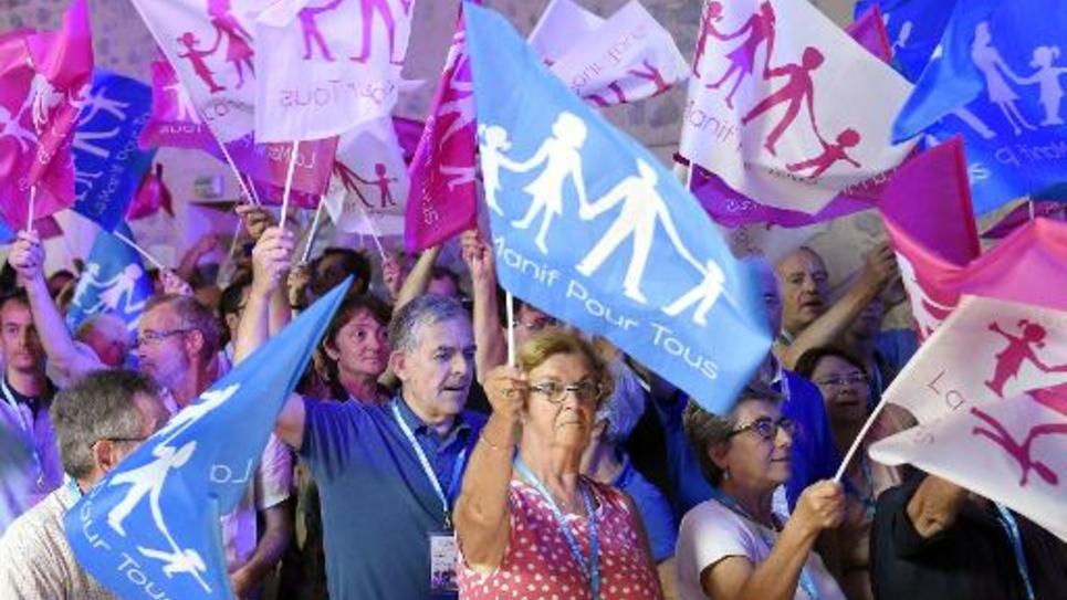"""Des manifestants de la """"Manif pour Tous"""" à Palavas-les-Flots, le 14 septembre 2014"""