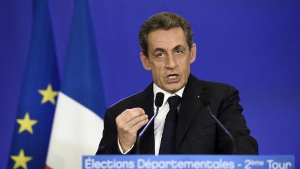 Nicolas Sarkozy lors d'un discours au soir des réssltats au second tour des départementales le 29 mars 2015 à Paris