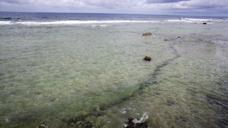 Le récif de Mururoa le 13 février 2014 où ont été réalisés 193 essais nucléaires entre 1966 et 1996