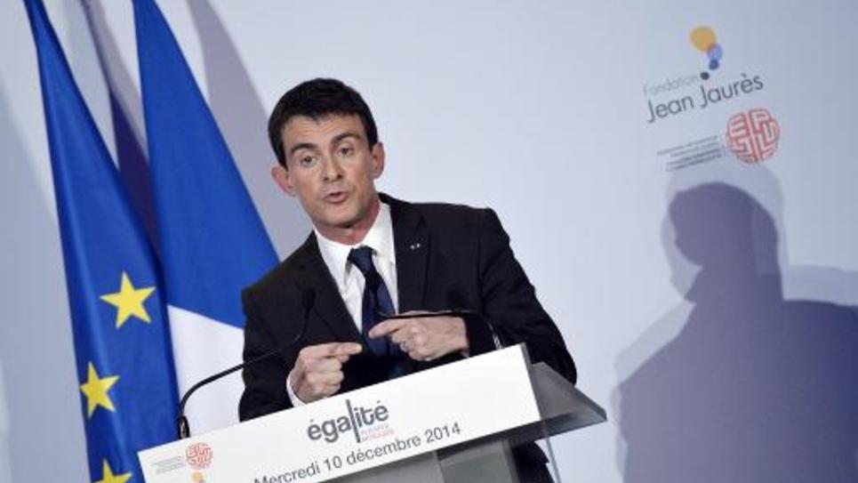 Le Premier ministre Manuel Valls lors d'un discours le 10 décembre 2014 à la Fondation Jean-Jaurès à Paris