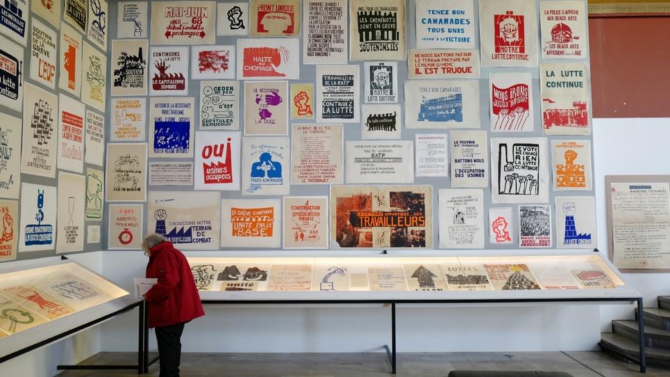 """Exposition """"affiches en lutte"""" de mai 68 aux Beaux-arts à Paris le 6 mars 2018"""