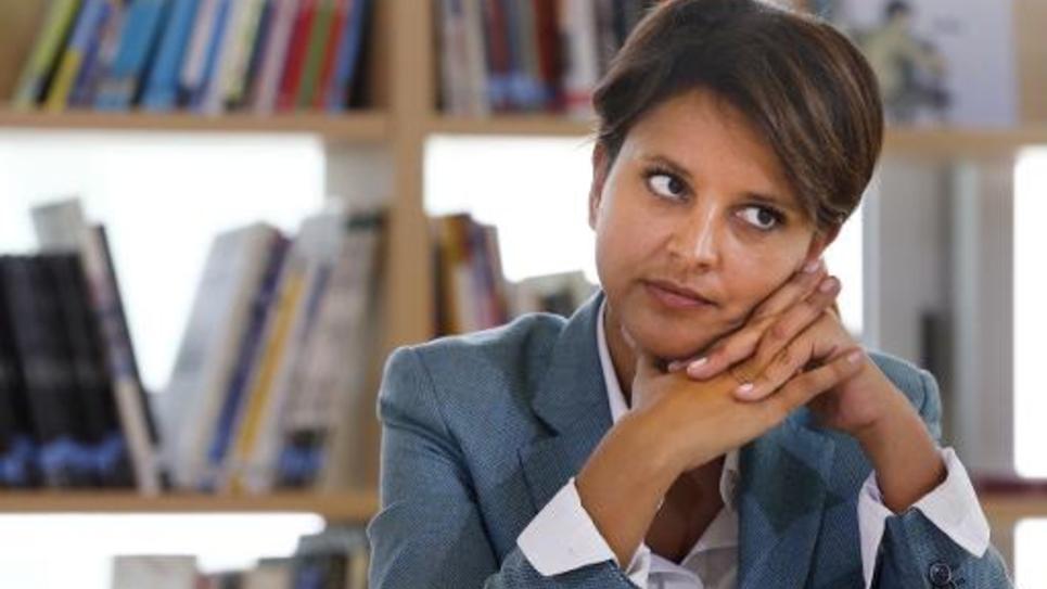 La ministre Najat Vallaud-Belkacem dans une école de Clichy-sous-Bois, en Seine-Saint-Denis le jour de la rentrée, le 2 septembre 2014