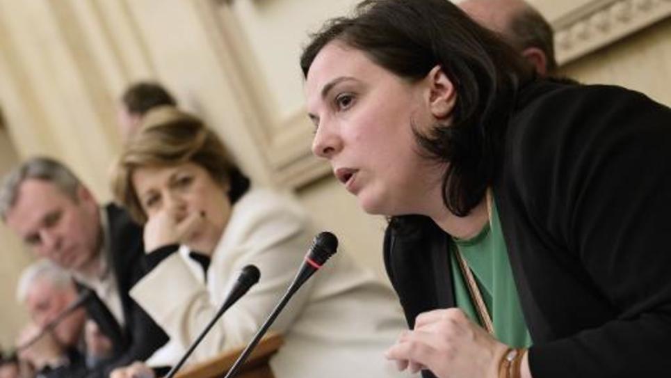 Emmanuelle Cosse, secrétaire nationale d'Europe Ecologie-Les verts, le 4 avril 2015 à Paris