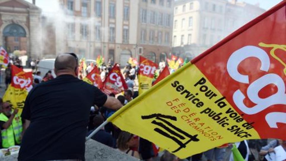 Des manifestants de la SNCF à Toulouse, le 17 juin 2014