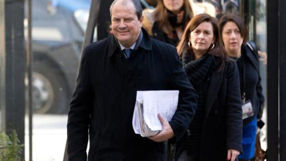 -Le premier secrétaire du PS Jean-Christophe Cambadelis, à son arrivée au conseil national du parti le 7 février 2015 à Paris