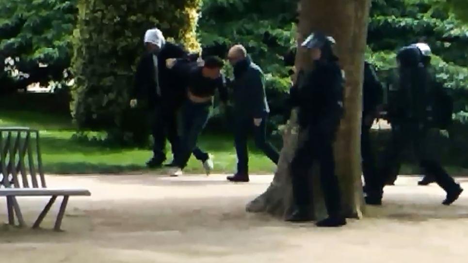 Capture d'écran d'une vidéo de Mediapart sur laquelle semblent apparaître Alexandre Benalla et Vincent Crase, le 1er mai au Jardin des Plantes à Paris