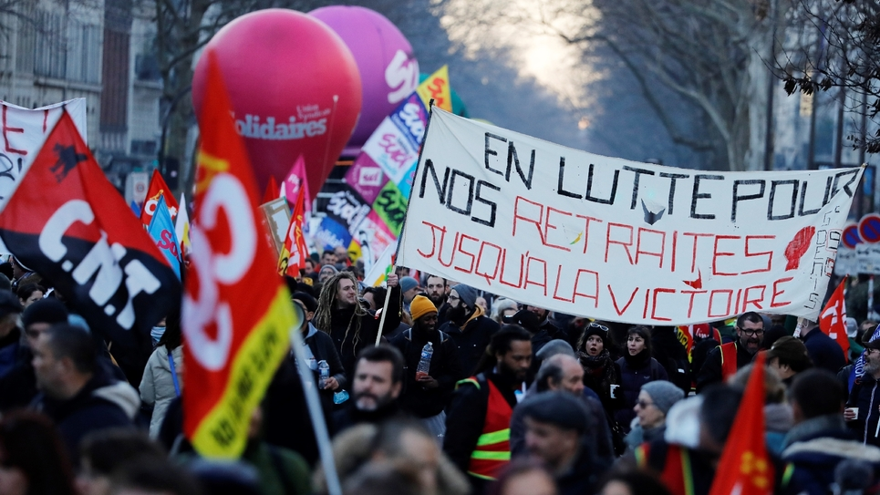 9e journée interprofessionnelle de grève et de manifestations contre la réforme des retraites, le 6 février 2020 à Paris