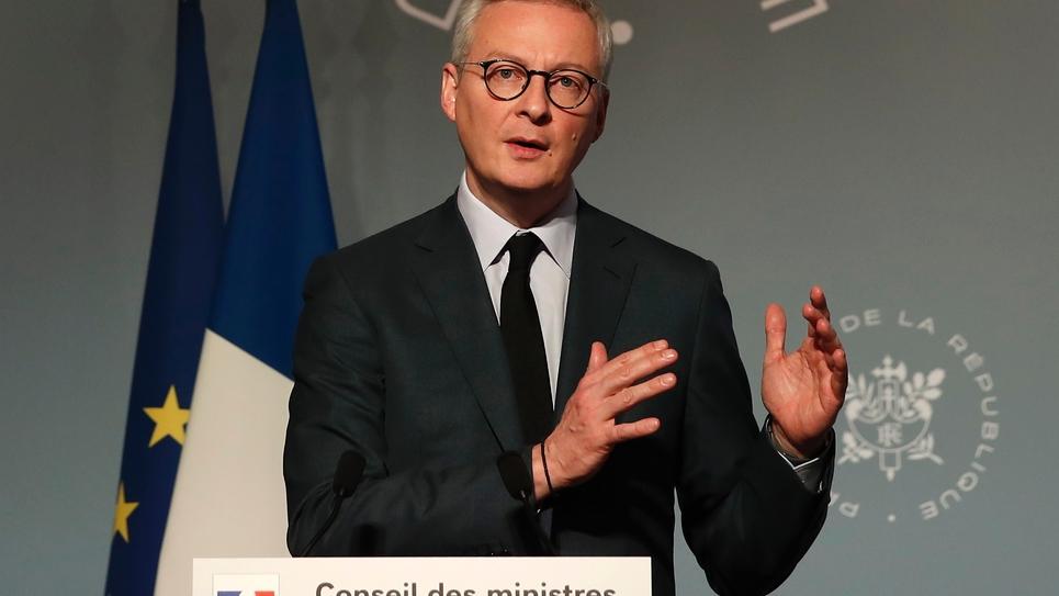 Le ministre de l'Economie Bruno Le Maire, lors d'une conférence de presse le 25 mars 2020