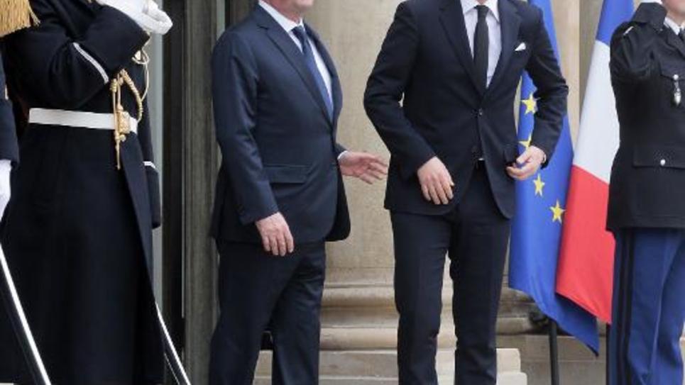 Le président François Hollande accueille le Premier ministre italien Matteo Renzi le 24 février 2015 à l'Elysée à Paris