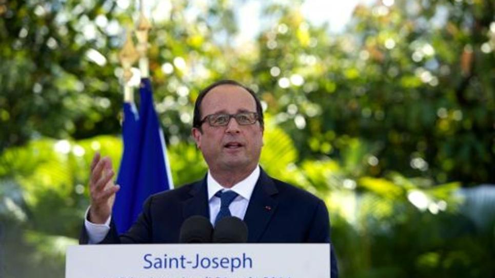 François Hollande à Saint Joseph à la Réunion le 21 aout 2014