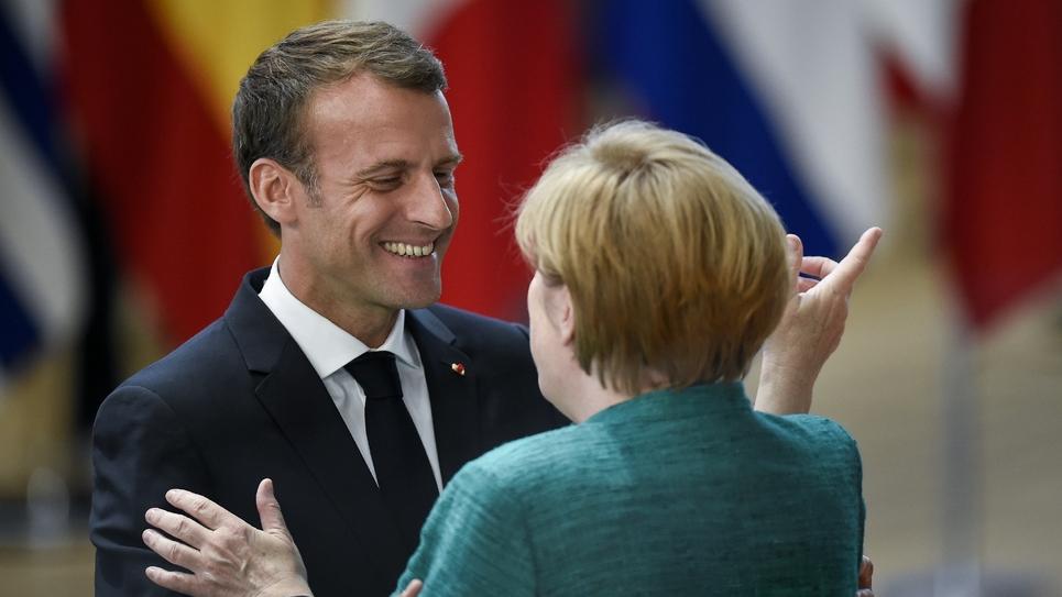 Emmanuel Macron et la chancelière allemande Angela Merkel, à Bruxelles le 28 juin 2018