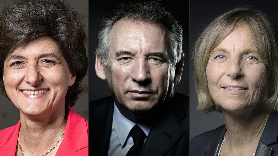 Photomontage réalisé le 21 juin 2017 et montrant Sylvie Goulard (G), François Bayrou (C) et Marielle de Sarnez (D)
