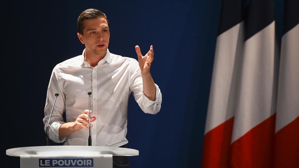 Jordan Bardella, tête de liste RN aux élections européennes, le 20 avril 2019 à Beaucaire (Gard)